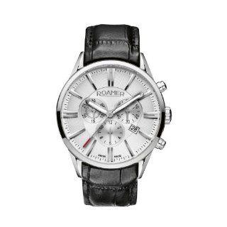 Silver Dial Black Leather Chronograph Watch Watches
