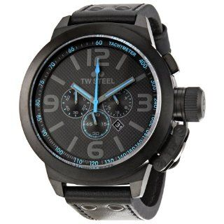 TW Steel Mens TW905 Cool Black Black Leather Strap Watch Watches