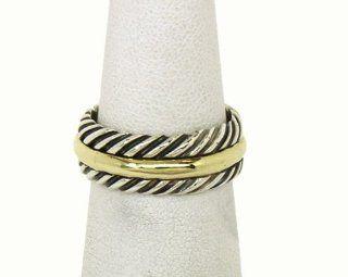 David Yurman Sterling Silver & 18K Gold Band Ring Jewelry