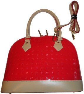 Womens Arcadia Patent Leather Purse Handbag Coral Red