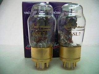 Matched Pair FULL MUSIC 6SL7 Audio Tubes Brass Base Gold Pin Gold