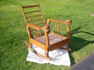 Oak Morris Chair ~ Rocker ~ with LION HEAD Arms W Mass PICK UP ONLY