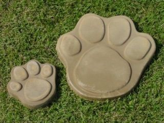 SMALL DOG CAT PAW PRINT CONCRETE STEPPING STONE GARDEN MOLD SET1009