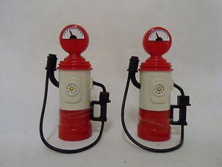 Unrecognized Vintage Plastic Toy Petrol / Gas Pumps x2 with Hoses