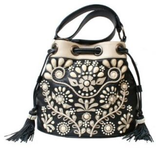 Mary Frances Voila Black & Cream Leather Handbag: Shoes