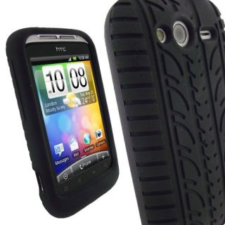 iGadgitz Black Silicone Skin Case Cover with Tyre Tread Design for HTC
