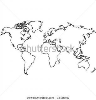 stock vector : World map outlines. Vector black and white image.