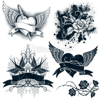 Tatouage, Coeur, Aile, Aile artificielle, Rose  Stock Illustration