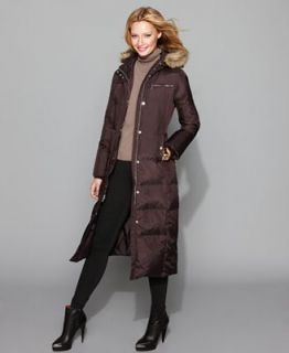 MICHAEL Michael Kors Coat, Long Faux Fur Hooded Down