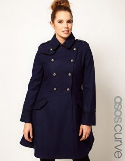 ASOS Curve  ASOS CURVE Military Fit and Flare Coat at ASOS