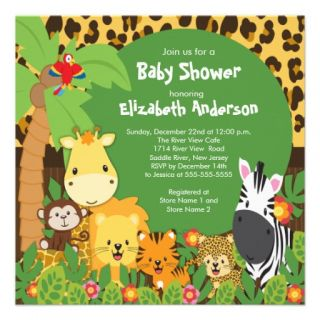 Cute Safari Jungle Animals Baby Shower Invitations from Zazzle