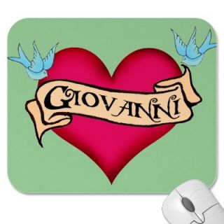 Giovanni   Custom Heart Tattoo Mousepad from Zazzle