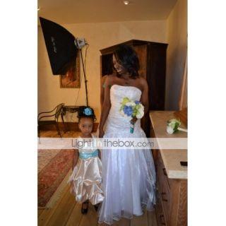 Trumpet / Mermaid One Shoulder Chapel Train Satin Organza Wedding