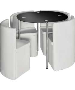 Buy Hygena Round Space Saver White Dining Table and Chair Set at Argos