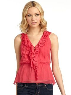 Madison Marcus   Pleated Ruffle Front Silk Blouse