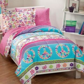 Comfort and More Peace Signs Multicolor Girls 5 Piece Twin Comforter