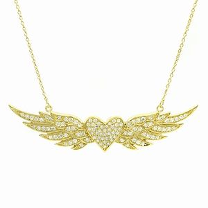Buy Emitations Hayleys Flying Heart Pave CZ Angel Wing Necklace, Gold