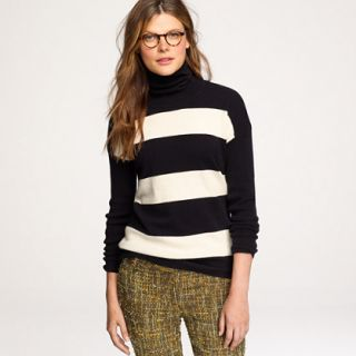 Cashmere rugby stripe turtleneck sweater   Cashmere Shop   Womens