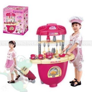 Wholesale Kids Multifunction Plastic Trolley Pretend Play Kitchen Toy