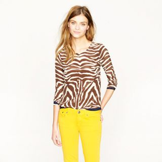 Scoopneck silk top in zebra   blouses   Womens shirts & tops   J.Crew