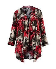 null (Multi Col) Lipstick Curvy Black and Red Poppy Waterfall Cardigan