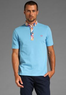 FRED PERRY Summer Madras Trim Shirt Polo in Soft Blue at Revolve