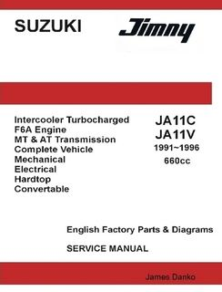Suzuki Jimny JA11C JA11V 660cc English Factory Parts Manual 1991 1996