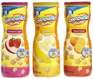 Gerber Graduates Apple Strawberry, Banana, Sweet Potato Puffs   3 pk