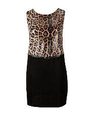 Brown Pattern (Brown) Koko Leopard Print Sequin Bodycon Dress