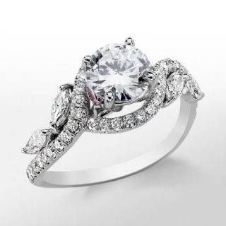 Monique Lhuillier Floral Diamond Engagement Ring in Platinum  Blue