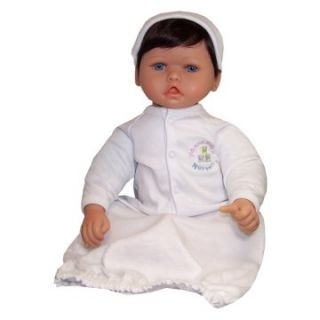 Molly P. Originals Nursery Doll 20 in. Dark Brown Hair Blue Eyes
