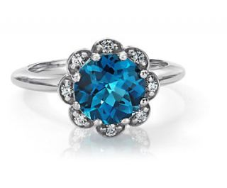 London Blue Topaz and Diamond Flower Ring in 14k White Gold  Blue