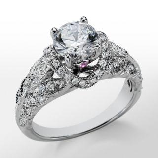 Monique Lhuillier Heirloom Diamond Engagement Ring in Platinum  Blue