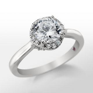 Monique Lhuillier Plain Shank Halo Engagement Ring in Platinum  Blue