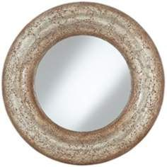 Antique Gold 33 Cracked Mosaic Round Wall Mirror