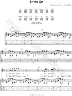 Image of James Blunt   Shine on Guitar Tab    & Print