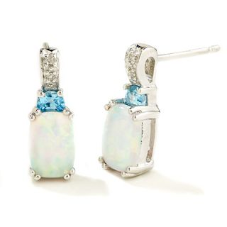 Cushion Cut Opal and Blue Topaz Earrings in 14K White Gold with