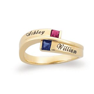 18K Gold Plate Couples Princess Birthstone Ring (2 Stones and Names