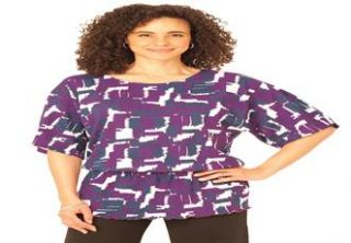 Plus Size Tee shirt in soft print knit with peplum waist  Plus Size