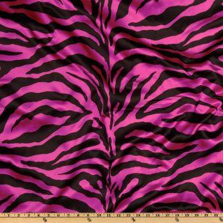 Charmeuse Satin Zebra Fuschia/Black   Discount Designer Fabric