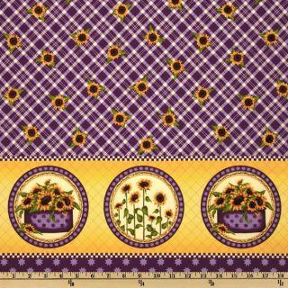Sunflowers Double Border Purple   Discount Designer Fabric   Fabric