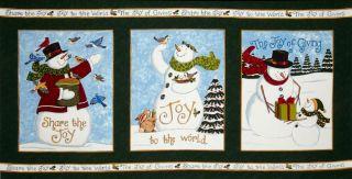 Moda Share The Joy Snowman Panel Evergreen   Discount Designer Fabric