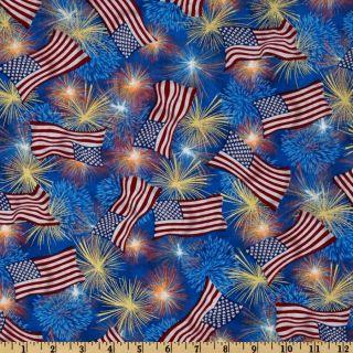 Patriotic Fireworks Red/White/Blue   Discount Designer Fabric