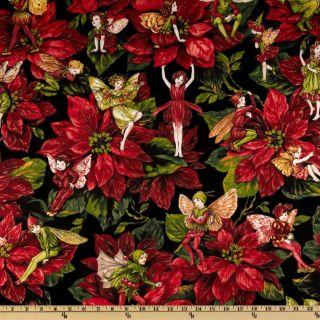Michael Miller Christmas Flower Fairies Red   Discount Designer Fabric