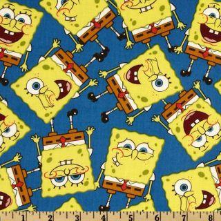 Spongebob Packed Spongebob Royal Blue   Discount Designer Fabric