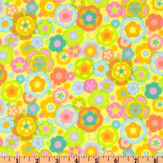 Parfait Flannel Flowers Banana   Discount Designer Fabric   Fabric