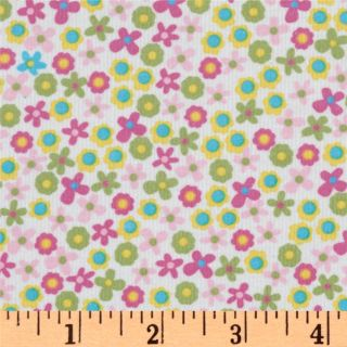 Kaufman 21 Wale Corduroy Flowers Pink   Discount Designer Fabric