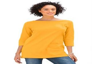 Plus Size Tee shirt in solids with boat neck, 3/4 sleeves  Plus Size