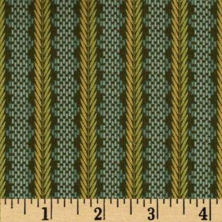Le Petit Fleurette Chainette Stripe Sage   Discount Designer Fabric