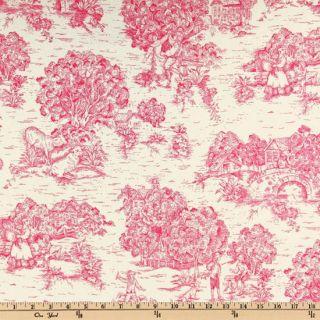 Pastoral Toile Rose Pink/Ivory   Discount Designer Fabric   Fabric